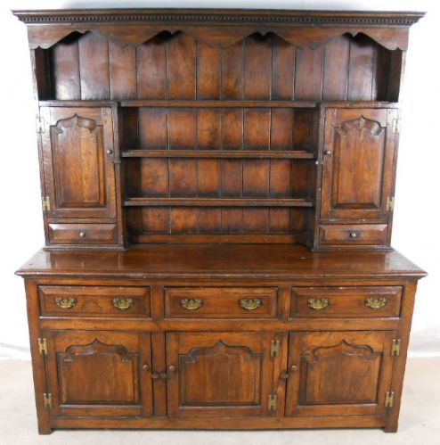 Welsh Dresser, Large Oak Storage Sideboard Cupboard with Rack